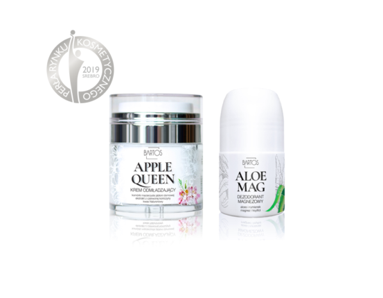 SREBRNE Perły Rynku Kosmetycznego 2019 dla produktów Bartos Cosmetics - Nagrody dla kremu Apple Queen krem odmładzający i Aloe Mag dezodorant magnezowy.