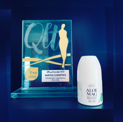 Qltowy Kosmetyk 2019 nagroda i nominacja dla kosmetyków Bartos Cosmetics - Kolejny raz nasze produkty zostały nagrodzone, tym razem w Konkursie Qltowy Kosmetyk 2019 wygrywa ze wszystkimi Aloe Mag dezodorant magnezowy.